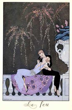 """The Fire, Illustration for """"Fetes Galantes"""" by Paul Verlaine (1924) 2 người phụ nữ. Một người nam tính với bộ suit đen và mái tóc hất về sau, đỡ một người nằm dài trên ban công, trong bộ váy tím xẻ ngực  phong cách flapper."""