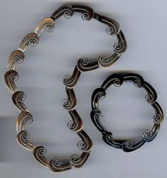 R. CAZARES VINTAGE MEXICO STERLING SWIRL WAVES LINK NECKLACE & BRACELET SET