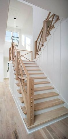 Custom staircase in charleston, sc- board and batten, cable railing, modern farmhouse, white oak floors Modern Stair Railing, Stair Railing Design, Staircase Railings, Modern Stairs, Railing Ideas, Staircase Ideas, Staircases, Cable Railing, Grand Staircase