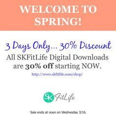 WELCOME TO SPRING!!! ☀️☀️☀️☀️☀️ We don't offer a lot of discounts, but SPRING is a discount-worthy occasion!  ☀️☀️☀️☀️☀️ For the next 3 days, you can get 30% off any and all of our digital training downloads. Check them out here: http://www.skfitlife.com/shop/ ☀️☀️☀️☀️☀️ Enter the spring30off discount code at checkout.