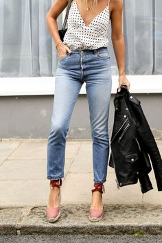 Denim outfit for date night with a leather jacket