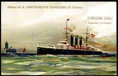 "https://flic.kr/p/8Vjyox | French Tradecard - Chilean Warship ""O'Higgins"" 