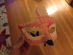 Crepe paper flamingo mask by Krista von Blohn