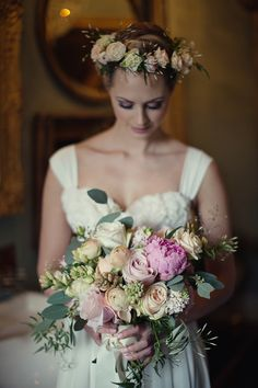 beautiful bouquet of peonies and roses by Fairynuff Flowers | photo by Her Lovely Heart