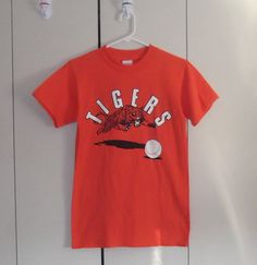 vintage 1980s tigers baseball tshirt jolly by thriftyoutfitters, $15.00