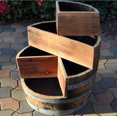 #ebay #Tier #Planter #Wood #Wine #Barrel #Plant #Garden #Patio #Flower #Outdoor #Decor #Decoration #Handmade