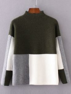 Color Block Mock Neck Drop Shoulder Sweater///inspiration for left over wool. Knitwear Fashion, Sweater Design, Looks Style, Mode Inspiration, Diy Fashion, Knitting Patterns, Crochet Patterns, Sweaters For Women, Mock Neck