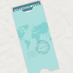 map boarding pass travel pouch envelope - printable file