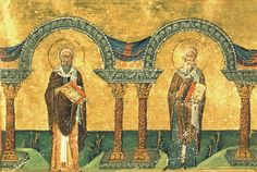 Athanasius and Cyril of Alexandria , from the Menologion of Basil II Something Interesting To Read, St Athanasius, Early Christian, Byzantine, Alexandria, African Art, Christianity, Saints, Spirituality