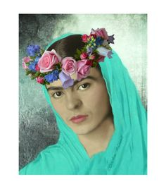 Frida Kahlo Original Print Mixed Media Photomontage Modern Home Decor Turquoise Blue Rebozo Small to Poster Print Flowers Our Lady Mary