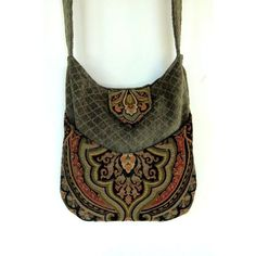 Tapestry Gypsy Bag Messenger Bag Bohemian Green Chenille large bag... ❤ liked on Polyvore featuring bags, gypsy bag, boho gypsy bag, tapestry bag, bohemian bag and courier bag
