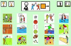 """""""Tablero de comunicación: deportes"""". Recopilación de diferentes tableros de comunicación de 12 casillas, organizados por necesidades básicas y centros de interés. Los tableros pueden imprimirse tal como aparecen en los documentos o bien se puede modificar el contenido, la forma, el color, etc., para adaptarlos a las características individuales de cada usuario. Pueden utilizarse también para trabajar distintos repertorios de vocabulario agrupado por temas o categorías."""