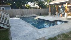 Silver Travertine with Pergola Pool Pavers, Concrete Pool, Travertine Pavers, Backyard Pools, Pool Ideas, Dream Vacations, Tiny House, Swimming Pools, Pergola