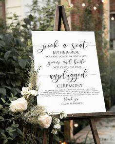 Unplugged Wedding Sign, Wedding Ceremony Signs, Wedding Welcome Signs, Wedding Ceremony Decorations, Wedding Signage, Diy Wedding Signs, Signs At Weddings, Wedding Ceremony Pictures, Diy Wedding Easel