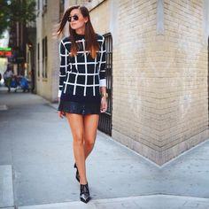 #daniellebernstein #fashion #sweater #leatherskirt