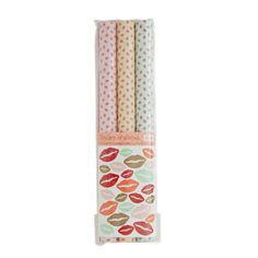 9 Sheets of Wrapping Paper with Assorted Kiss Print and Kiss Stickers