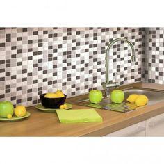 Carrelage mural adhésif mosaïque noir et blanc pour cuisine et salle de bain