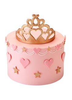 Pink Princess CakeA fairytale cake fit for a little princess! The pale pink buttercream cake is decorated with pink sugar hearts, swags and golden stars around the side and a golden sugar tiara cake topper. A plaque with a personal message can be placed i Elegant Birthday Cakes, Baby Birthday Cakes, Torta Princess, Pink Princess Cakes, Bolo Fack, Tiara Cake, Princess Birthday, Princess Party, Girl Cakes
