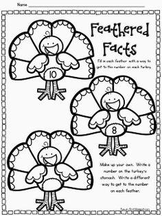 It's Turkey Time, math facts Teaching First Grade, 1st Grade Math, Teaching Math, Second Grade, Teaching Ideas, Math Classroom, Kindergarten Math, Classroom Ideas, Preschool