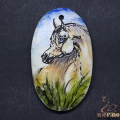 Scrimshaw Pendant  Carved Hand Painted Horse  Rubber Stamp ZL20929 #ZL #Pendant