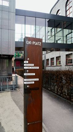 Kulturhaus011 Directional Signage, Wayfinding Signs, Outdoor Signage, Signage Design, Layout Design, Branding Design, Environmental Graphic Design, Environmental Graphics, Office Signage
