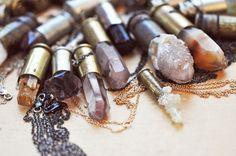 amythest and quartz bullet casing necklaces by pamela love