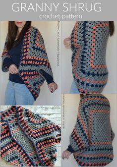 Gilet Crochet, Crochet Cardigan Pattern, Crochet Shawl, Knit Crochet, Granny Pattern, Crochet Granny, Crochet Shrugs, Crotchet, Crochet Designs