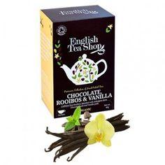 La tienda online gourmet y delicatessen Érase un gourmet vende bolsitas de té Rooibos sin cafeína con chocolate negro y vainilla, marca English Tea Shop. Comercio Justo y Solidario