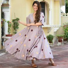Polka Sage Cotton Dress Flowy Gown, Anarkali Kurti, Cotton Dresses, Maxi Dresses, Kurti Neck Designs, Pakistani Dresses, Frocks, Printed Cotton, Casual Wear