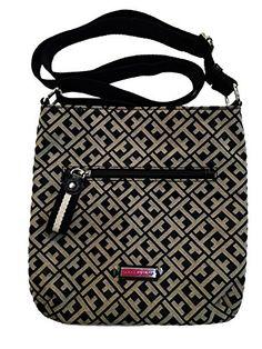 Women's Cross-Body Handbags - Tommy Hilfiger Small Crossbody Handbag Purse BlackBeige Big H >>> Click image to review more details.