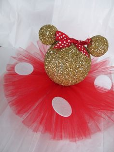 Gold Glittery Minnie Mouse Table Centerpiece Birthday Party Baby Shower Decor White Polka Dots Light Pink or Red Bow Tutu Skirt by PartyStylingsofMandy on Etsy https://www.etsy.com/listing/229706084/gold-glittery-minnie-mouse-table