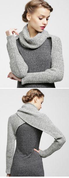 : Gilet/écharpe bien chaud au point mousse - The Best Geeks on 2020 How To Wear Cardigan, Loom Knitting, Knit Patterns, Refashion, Diy Clothes, Diy Fashion, Fashion 2014, Winter Fashion, Fashion Trends