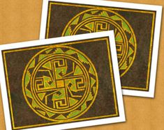 MEDICINE WHEEL- The 4 Directions- Set of 2 Note Cards - The Southwest Collection - Design by Linda Henry (SWNC022)