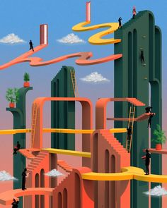Retro-futuristic Illustrations by Tishk Barzanji – Trendland Online Magazine Curating the Web since 2006 Charles Sheeler, Modern Art, Contemporary Art, Futuristic Art, Computer Art, Arte Pop, Oeuvre D'art, Pop Art, Illustration Art