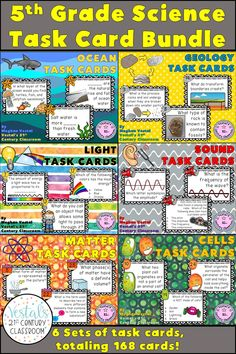 5th-grade science task cards include geology, the ocean, light, sound, matter, and cells. 28 task cards, a student response worksheet, and an answer key are included with each of the 6 task card sets. #vestals21stcenturyclassroom #5thgradescience #5thgradesciencetaskcards #virginiasciencesols #oceantaskcards #geologytaskcards #lighttaskcards #soundtaskcards #mattertaskcards #cellstaskcards