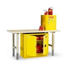 """Eagle 1904 Safety Cabinet for Flammable Liquids, 1 Door Manual , 4 gallon, 22-1/2""""Height, 17-1/2""""Width, 18""""Depth, Steel, Yellow $363"""