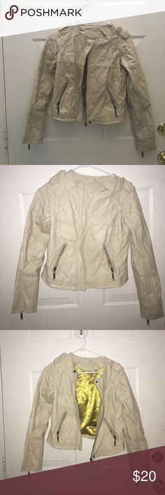 Light Tan Pleather Jacket Light Tan Pleather Jacket. Worn with blemishes pictures but SUPER CUTE! Size small. Jou Jou Jackets & Coats