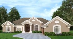 This updated 3 bath, one story Mediterranean house plan offers an open living floor plan with a gorgeous sloped ceiling living room Mediterranean Homes Exterior, Mediterranean House Plans, Mediterranean Architecture, Mediterranean Decor, Exterior Homes, African House, Plans Architecture, Custom Home Plans, European House Plans