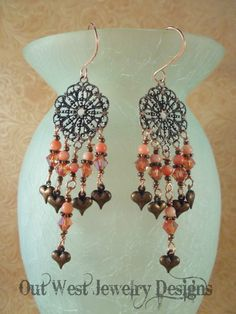 Gypsy Cowgirl Earrings - Antiqued Copper Filigree with Coral and Peach Swarovski Crystal - pinned by pin4etsy.com