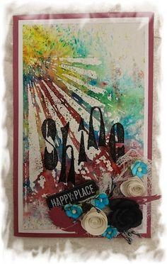 Scrappiness: Kort med bakgrunn laget av Brusho Crystal Color