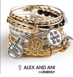 Alex and Ani Words are Powerful collection- be inspired by these everyday words of wisdom.I'm sur we can find something that fits Dee.the sister one is meh.so maybe one about living life to the fullest.or not waiting on anyone to fulfill your dreams. Alex And Ani Bangles, Alex And Ani Jewelry, Fashion Accessories, Fashion Jewelry, Bangle Bracelets, Fine Jewelry, Jewelry Making, Unique Jewelry, Collection
