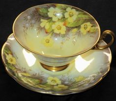 EB Foley Yellow Cream Laburnum Signed Wide Gold Footed TEA CUP AND Saucer