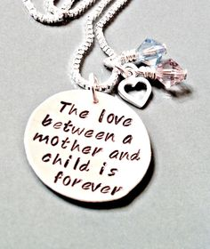 Hand Stamped Mommy Necklace  Personalized by ForeverHeartPrints, $49.00