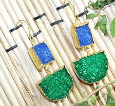 Zj-3168 Summer Sale Fantastic Sugar Druzy 24k Gold Plated Earring Jewelry  #Handmade #DropDangle