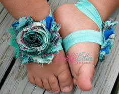 Baby Barefoot Sandals .. Hot Pink Flower by LovelyLiliesBoutique