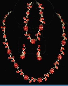 3 PC Red Rhinestone Necklace, Bracelet & Earrings Accented with Goldtones