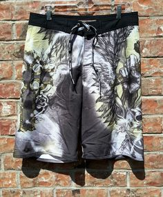 32 RemeteE by Affliction Swim Trunks Boards Shorts Black & Tan Graphics Skull | Clothing, Shoes & Accessories, Men's Clothing, Swimwear | eBay!