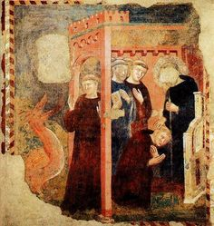Scenes from the life of St Benedict: The Monk and the Dragon, by Lello Orvieto, early 1300s.