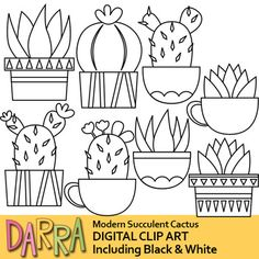 Web Server's Default Page Cactus Clipart, Clipart Black And White, Clips, Creative Words, Pyrography, Planting Succulents, Soft Colors, Clip Art, Fun