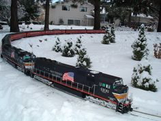 """A winter scene from my outdoor """"G"""" scale model railroad. Note, this picture was published in the February 2010 issue of Garden Railways Magazine and is copyrighted."""